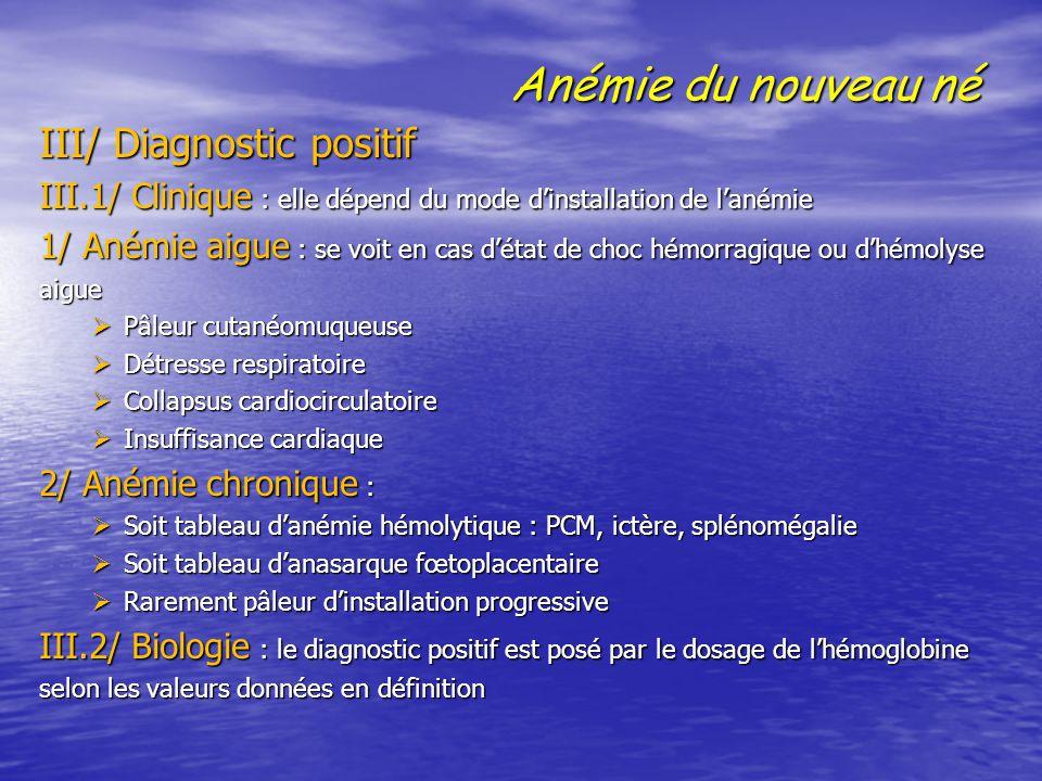Anémie du nouveau né III/ Diagnostic positif III/ Diagnostic positif III.1/ Clinique : elle dépend du mode d'installation de l'anémie 1/ Anémie aigue