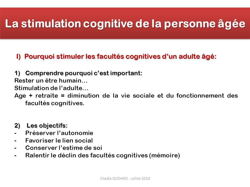 La stimulation cognitive de la personne âgée 1)Comprendre pourquoi c'est important: Rester un être humain… Stimulation de l'adulte… Age + retraite = d