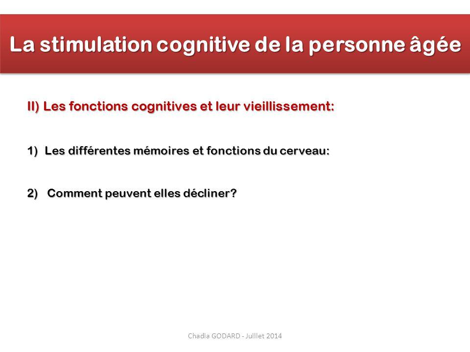 Chadia GODARD - Juillet 2014 La stimulation cognitive de la personne âgée II) Les fonctions cognitives et leur vieillissement: 1)Les différentes mémoi