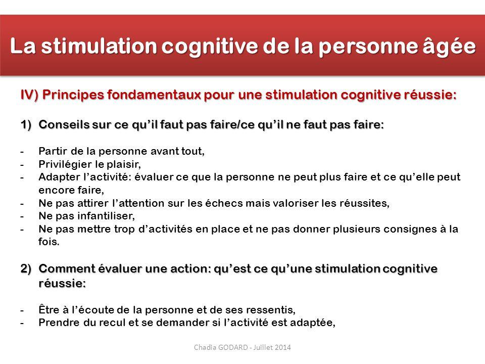 Chadia GODARD - Juillet 2014 IV) Principes fondamentaux pour une stimulation cognitive réussie: 1)Conseils sur ce qu'il faut pas faire/ce qu'il ne fau