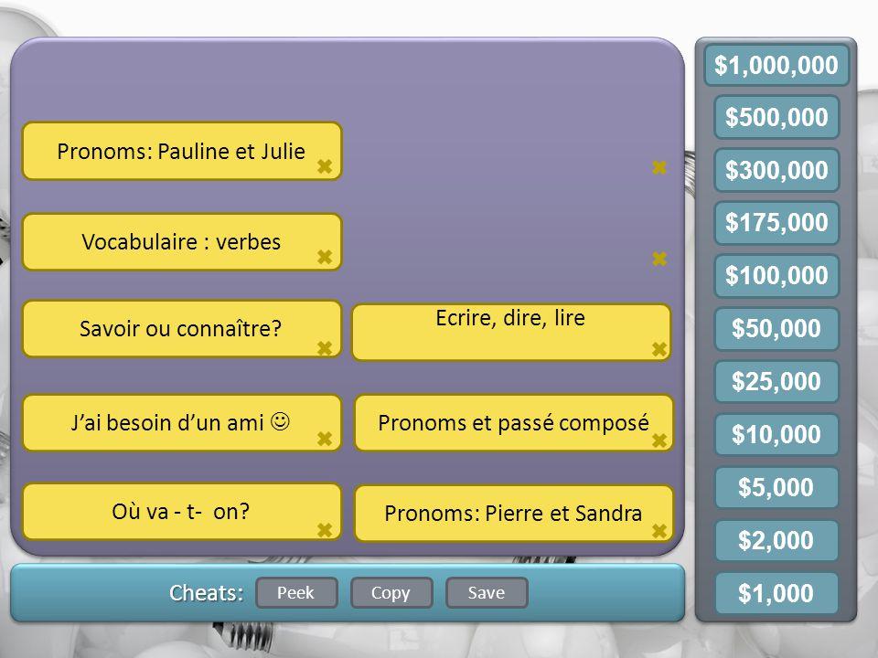 Gameboard CopySavePeek Cheats: Pronoms: Pauline et Julie Vocabulaire : verbes Savoir ou connaître.