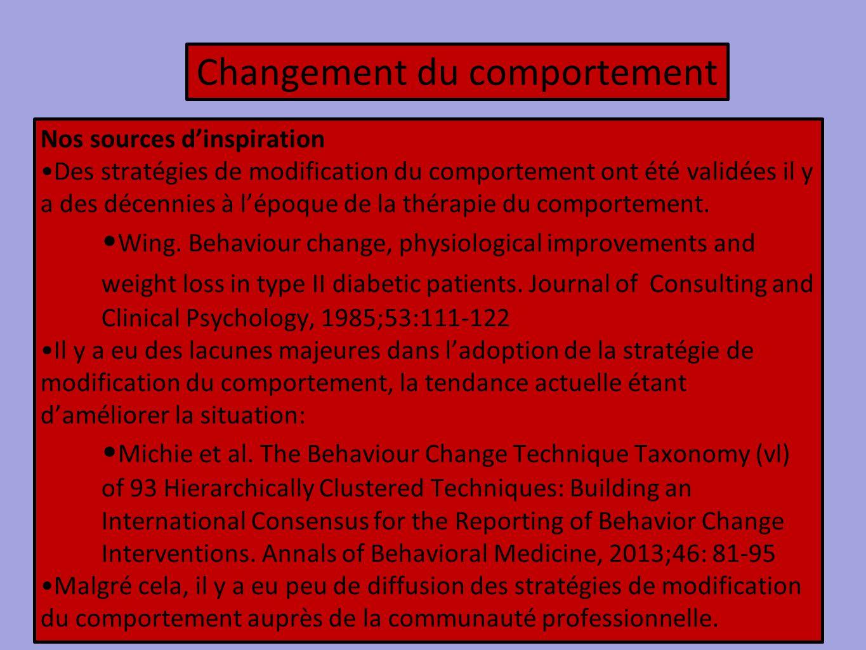Changement du comportement Nos sources d'inspiration Des stratégies de modification du comportement ont été validées il y a des décennies à l'époque d