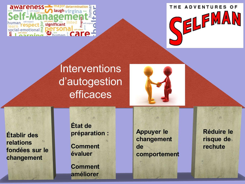 Établir des relations fondées sur le changement État de préparation : Comment évaluer Comment améliorer Interventions d'autogestion efficaces Appuyer