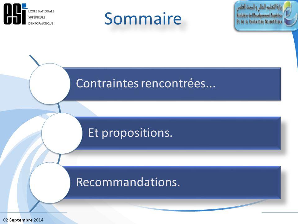 02 Septembre 2014 Sommaire Contraintes rencontrées... Et propositions. Recommandations.