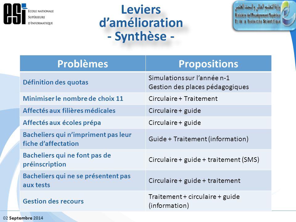 02 Septembre 2014 Leviers d'amélioration - Synthèse - Leviers d'amélioration - Synthèse - ProblèmesPropositions Définition des quotas Simulations sur