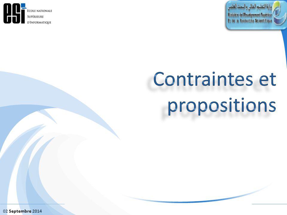 02 Septembre 2014 Propositions: – Offrir trois possibilités de filières pour les recours et réorientés après échec.