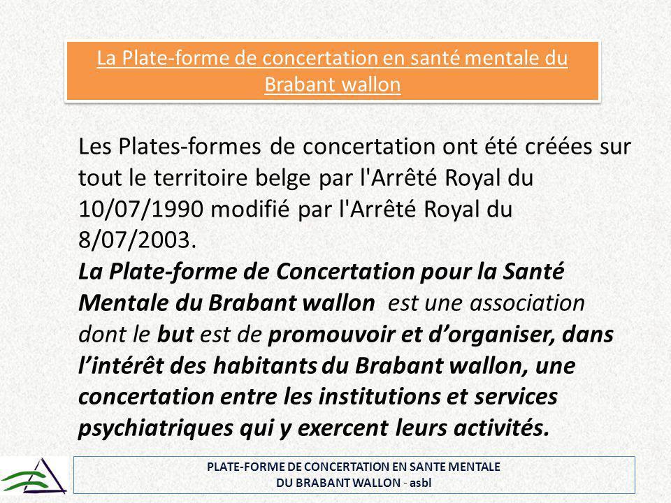 PLATE-FORME DE CONCERTATION EN SANTE MENTALE DU BRABANT WALLON - asbl La Plate-forme de concertation en santé mentale du Brabant wallon Les Plates-for