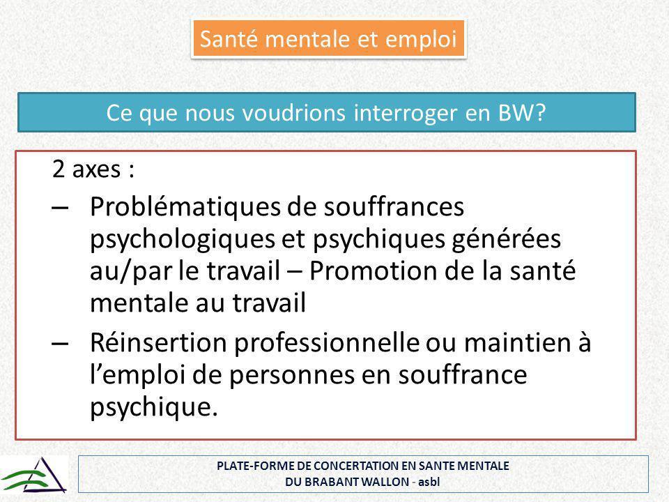 2 axes : – Problématiques de souffrances psychologiques et psychiques générées au/par le travail – Promotion de la santé mentale au travail – Réinsert