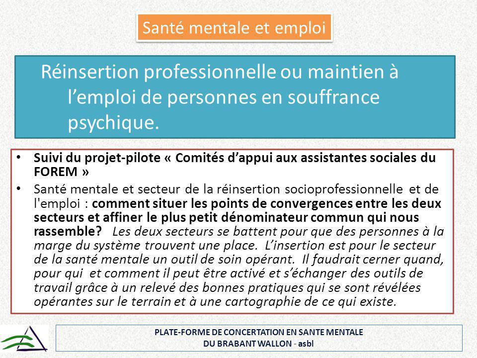 Suivi du projet-pilote « Comités d'appui aux assistantes sociales du FOREM » Santé mentale et secteur de la réinsertion socioprofessionnelle et de l'e