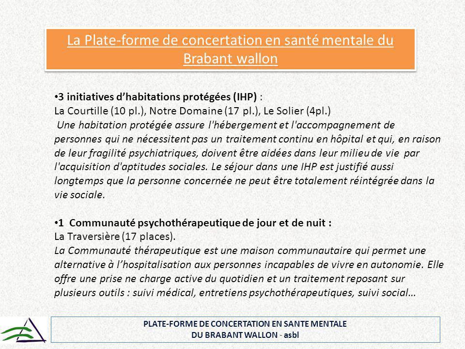 PLATE-FORME DE CONCERTATION EN SANTE MENTALE DU BRABANT WALLON - asbl La Plate-forme de concertation en santé mentale du Brabant wallon 3 initiatives