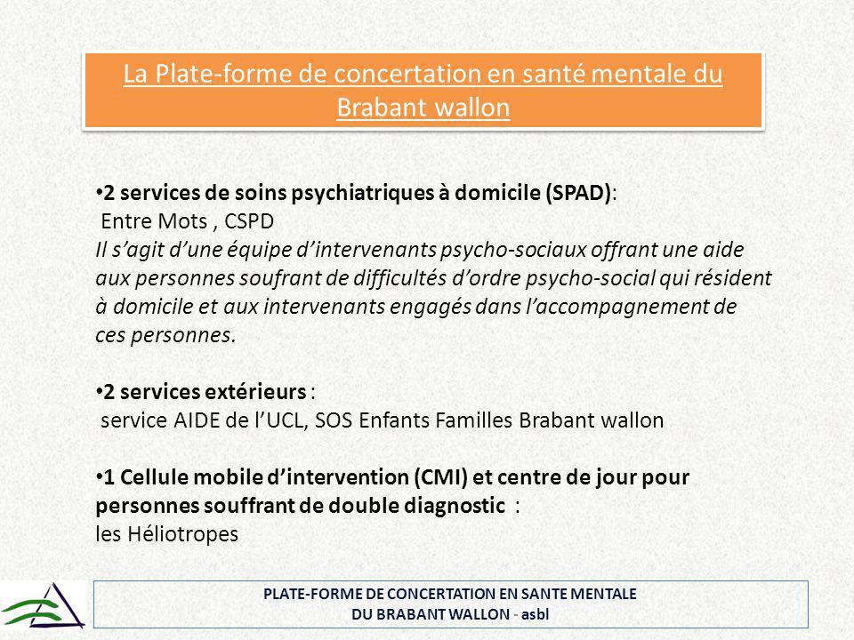 PLATE-FORME DE CONCERTATION EN SANTE MENTALE DU BRABANT WALLON - asbl La Plate-forme de concertation en santé mentale du Brabant wallon 2 services de