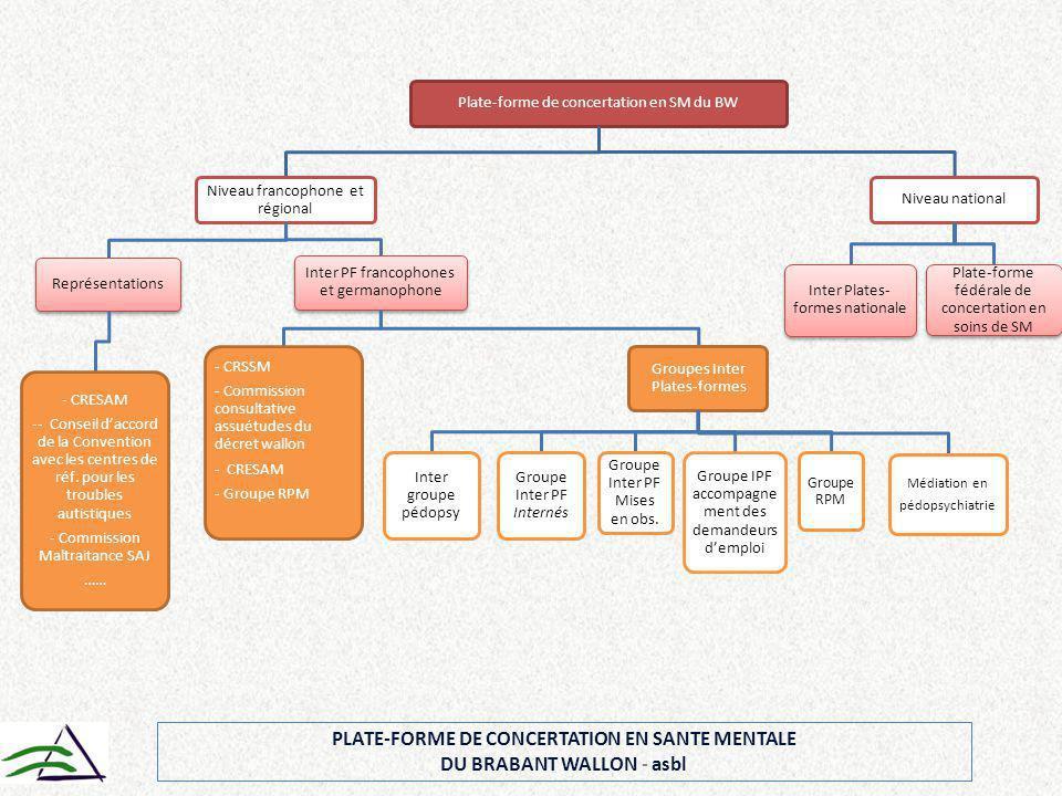Plate-forme de concertation en SM du BW Niveau francophone et régional Représentations - CRESAM -- Conseil d'accord de la Convention avec les centres