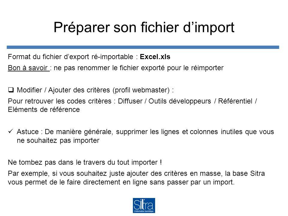 Préparer son fichier d'import Format du fichier d'export ré-importable : Excel.xls Bon à savoir : ne pas renommer le fichier exporté pour le réimporte