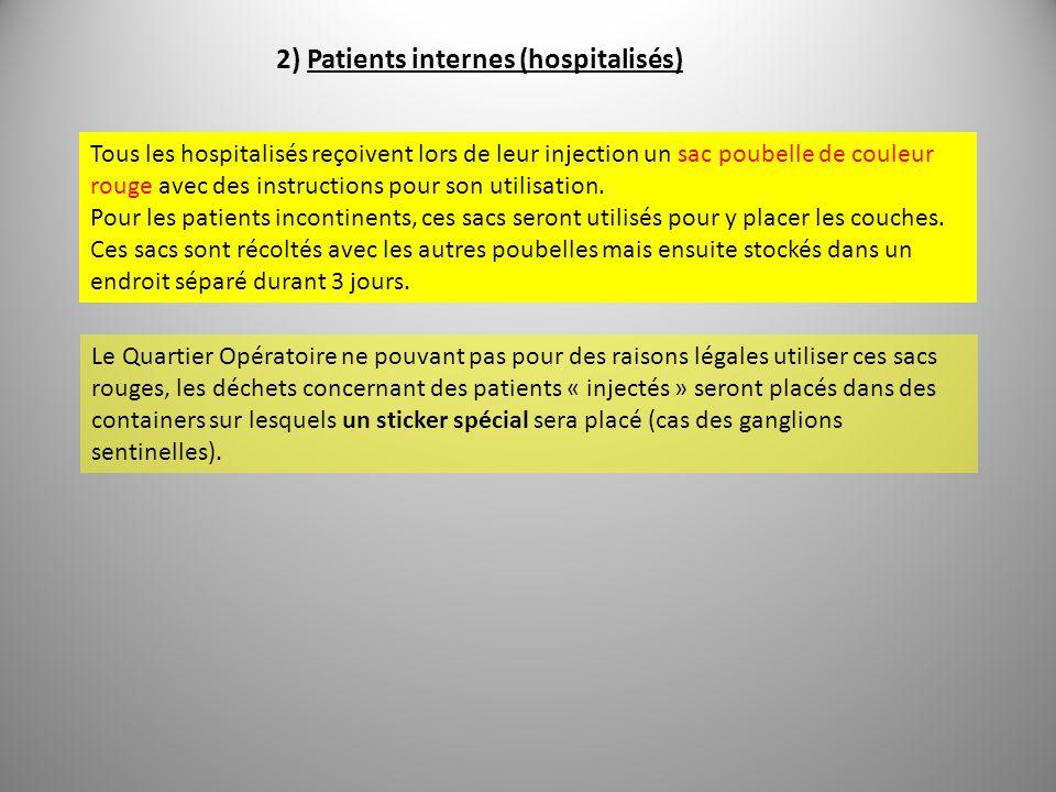 2) Patients internes (hospitalisés) Tous les hospitalisés reçoivent lors de leur injection un sac poubelle de couleur rouge avec des instructions pour