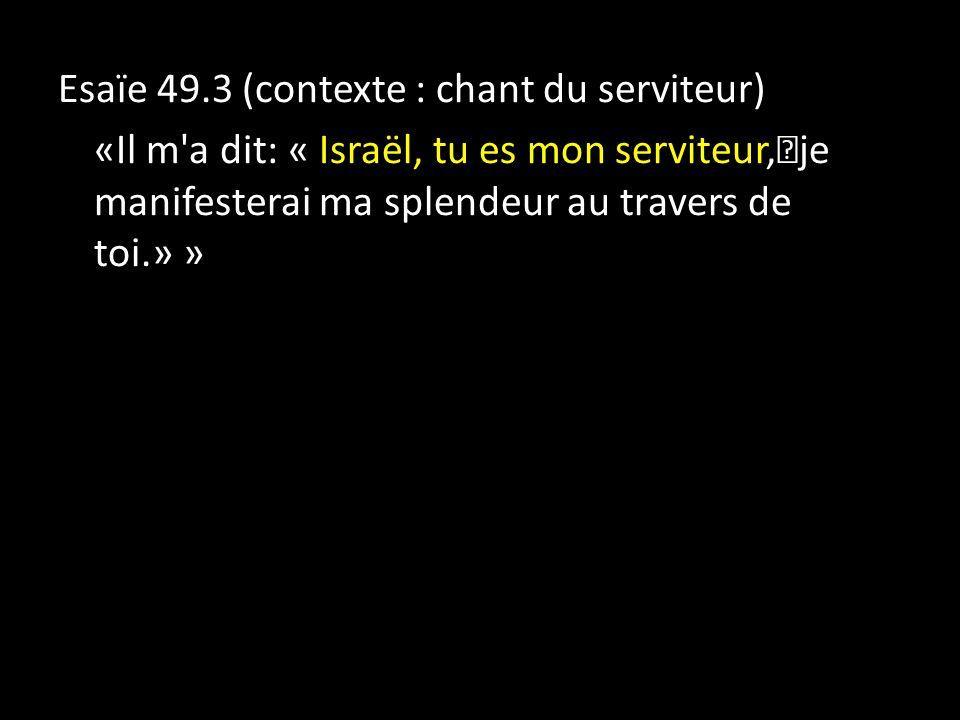 Esaïe 49.3 (contexte : chant du serviteur) «Il m a dit: « Israël, tu es mon serviteur, je manifesterai ma splendeur au travers de toi.» »