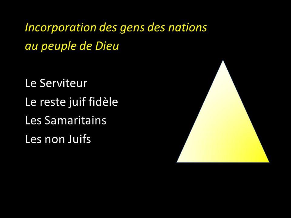 D Incorporation des gens des nations au peuple de Dieu Le Serviteur Le reste juif fidèle Les Samaritains Les non Juifs