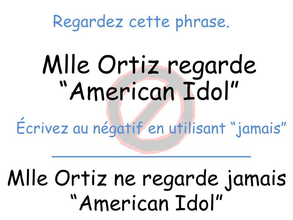 """Regardez cette phrase. Mlle Ortiz regarde """"American Idol"""" Mlle Ortiz ne regarde jamais """"American Idol"""" Écrivez au négatif en utilisant """"jamais"""" ______"""