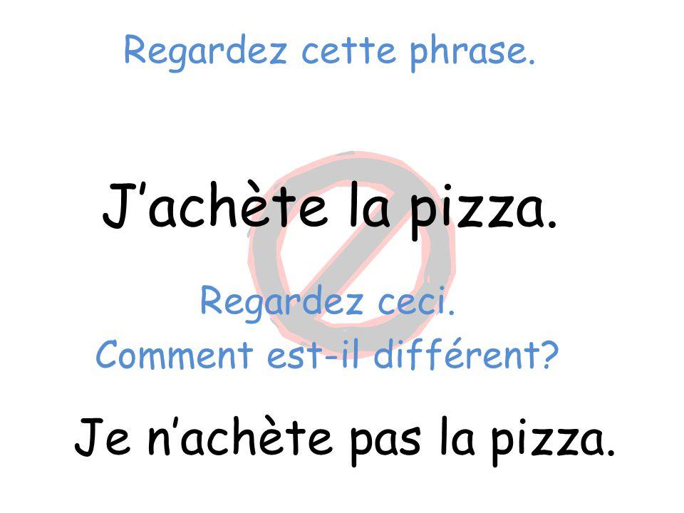 Regardez cette phrase. J'achète la pizza. Je n'achète pas la pizza. Regardez ceci. Comment est-il différent?