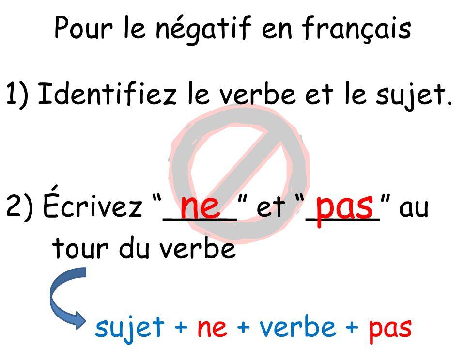 """Pour le négatif en français 1) Identifiez le verbe et le sujet. 2) Écrivez """"____"""" et """"____"""" au tour du verbe ne sujet + ne + verbe + pas pas"""