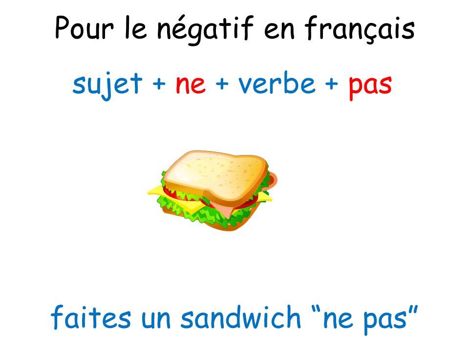 """Pour le négatif en français sujet + ne + verbe + pas faites un sandwich """"ne pas"""""""