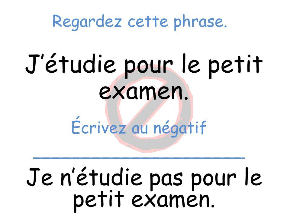 Regardez cette phrase. J'étudie pour le petit examen. Je n'étudie pas pour le petit examen. Écrivez au négatif _____________________