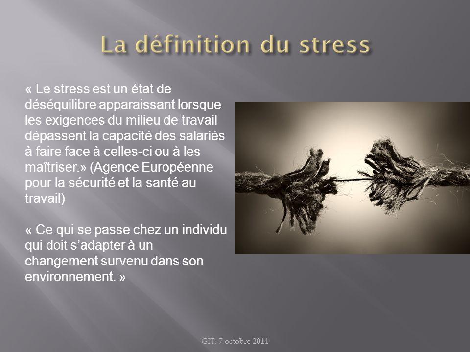 « Le stress est un état de déséquilibre apparaissant lorsque les exigences du milieu de travail dépassent la capacité des salariés à faire face à cell