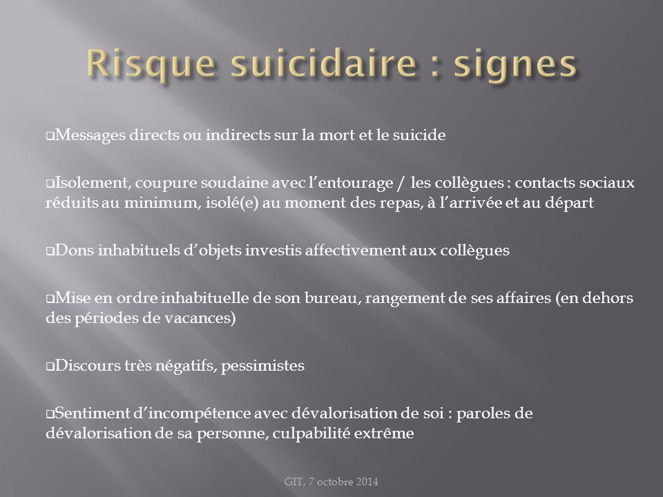  Messages directs ou indirects sur la mort et le suicide  Isolement, coupure soudaine avec l'entourage / les collègues : contacts sociaux réduits au