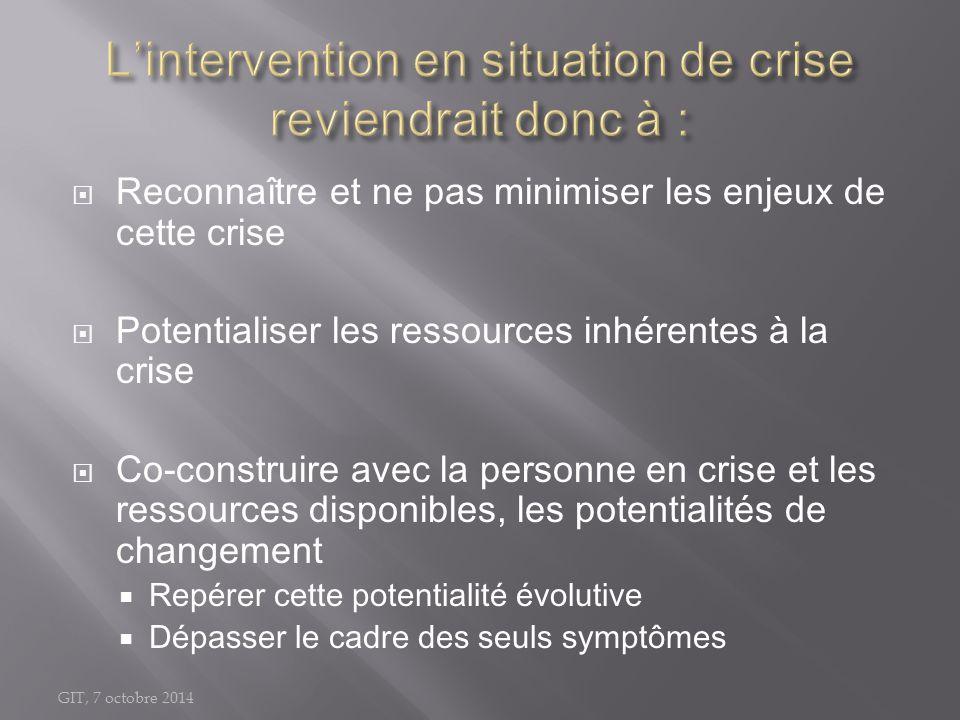 GIT, 7 octobre 2014  Reconnaître et ne pas minimiser les enjeux de cette crise  Potentialiser les ressources inhérentes à la crise  Co-construire a