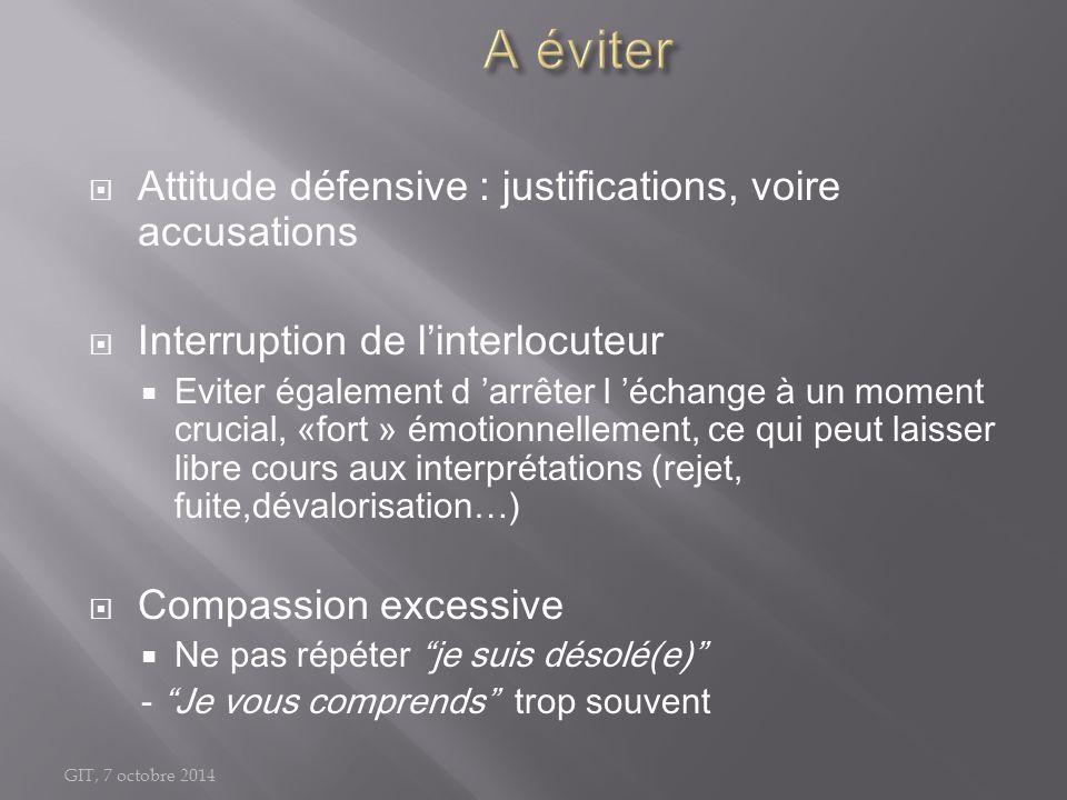 GIT, 7 octobre 2014  Attitude défensive : justifications, voire accusations  Interruption de l'interlocuteur  Eviter également d 'arrêter l 'échang