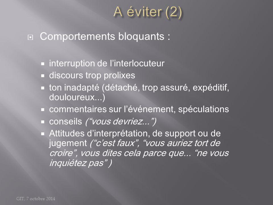 GIT, 7 octobre 2014  Comportements bloquants :  interruption de l'interlocuteur  discours trop prolixes  ton inadapté (détaché, trop assuré, expéd