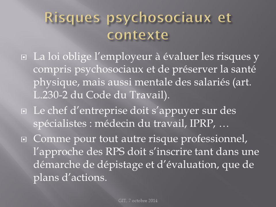  La loi oblige l'employeur à évaluer les risques y compris psychosociaux et de préserver la santé physique, mais aussi mentale des salariés (art. L.2