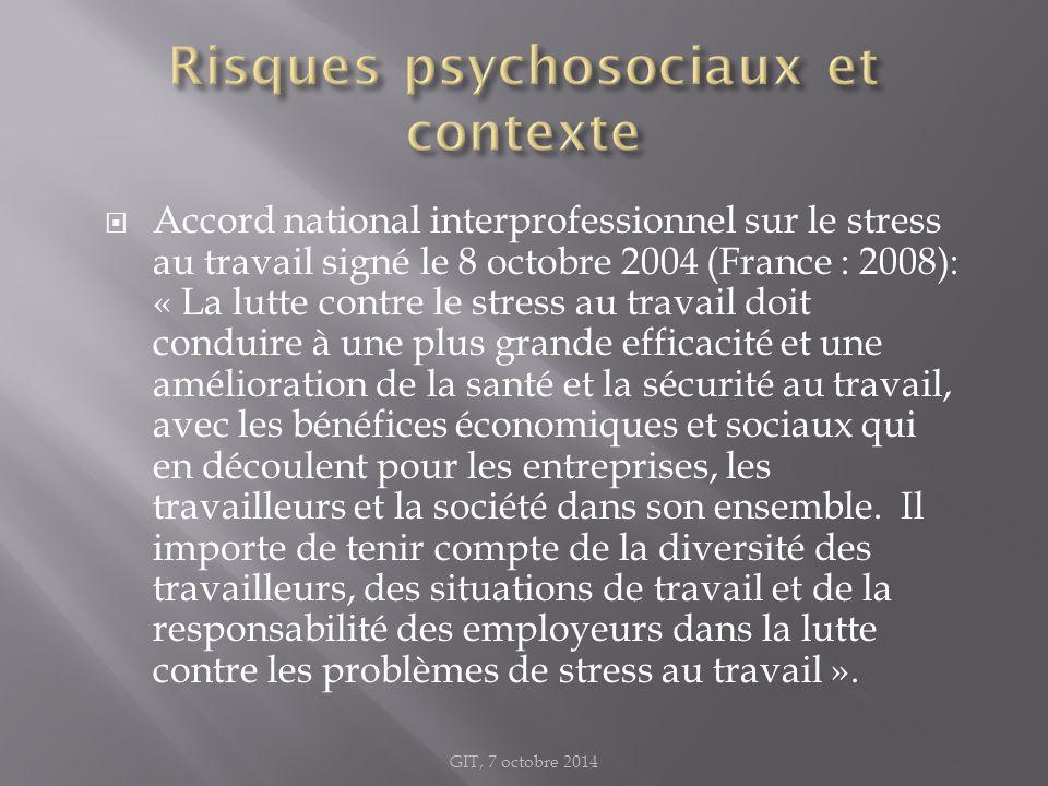 Accord national interprofessionnel sur le stress au travail signé le 8 octobre 2004 (France : 2008): « La lutte contre le stress au travail doit con