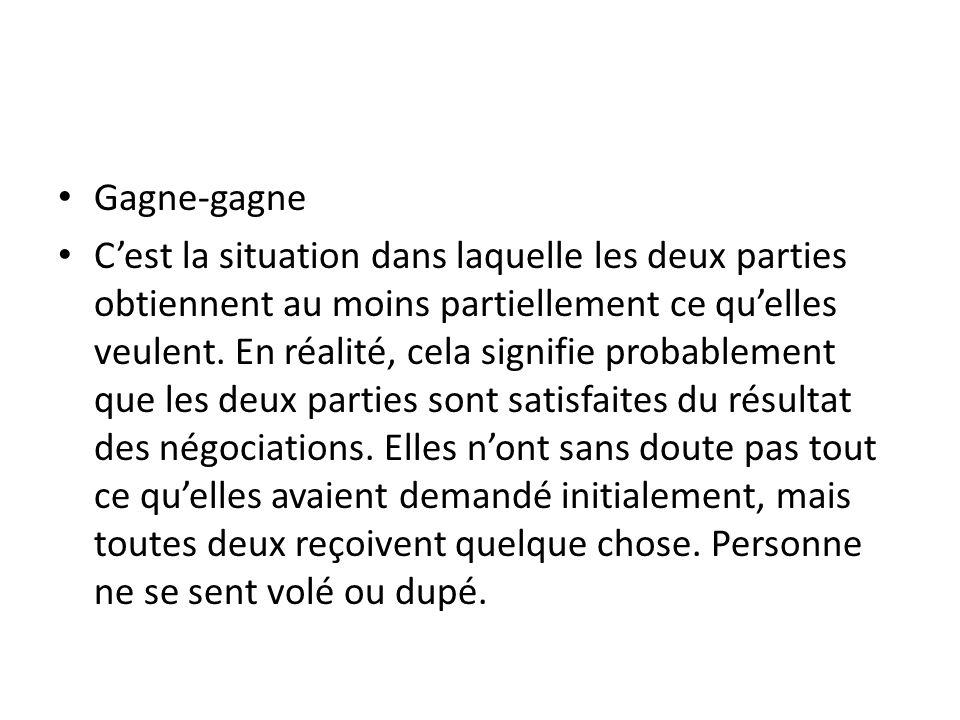 Gagne-gagne C'est la situation dans laquelle les deux parties obtiennent au moins partiellement ce qu'elles veulent.