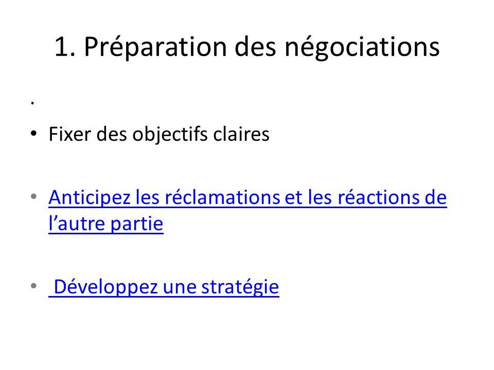 1. Préparation des négociations · Fixer des objectifs claires Anticipez les réclamations et les réactions de l'autre partie Anticipez les réclamations