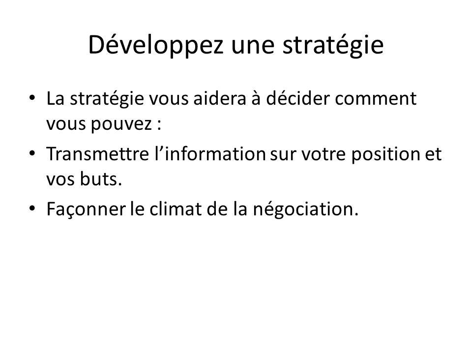 Développez une stratégie La stratégie vous aidera à décider comment vous pouvez : Transmettre l'information sur votre position et vos buts. Façonner l