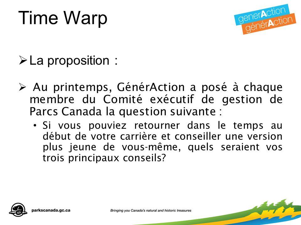 Time Warp  La proposition :  Au printemps, GénérAction a posé à chaque membre du Comité exécutif de gestion de Parcs Canada la question suivante : Si vous pouviez retourner dans le temps au début de votre carrière et conseiller une version plus jeune de vous-même, quels seraient vos trois principaux conseils