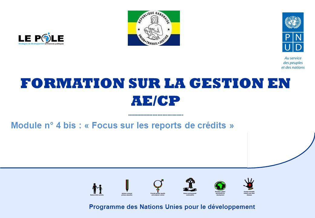 Programme des Nations Unies pour le développement FORMATION SUR LA GESTION EN AE/CP ----------------------------------- Module n° 4 bis : « Focus sur les reports de crédits »