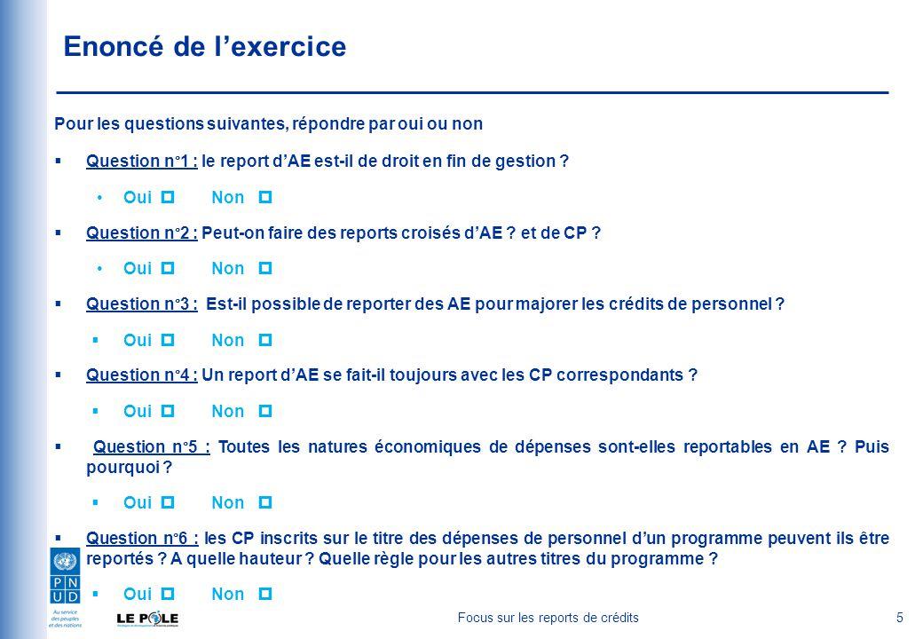 Enoncé de l'exercice Pour les questions suivantes, répondre par oui ou non  Question n°1 : le report d'AE est-il de droit en fin de gestion .