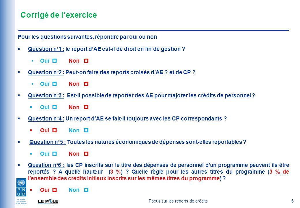 Corrigé de l'exercice Pour les questions suivantes, répondre par oui ou non  Question n°1 : le report d'AE est-il de droit en fin de gestion .
