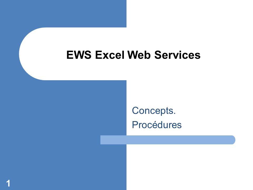 Concepts. Procédures 1 EWS Excel Web Services