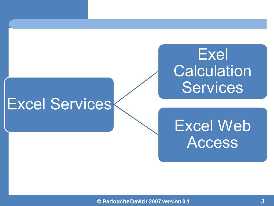 © Partouche David / 2007 version 0.1 Excel Services ne fonctionne que sur les fichiers issus de Excel 2007 .