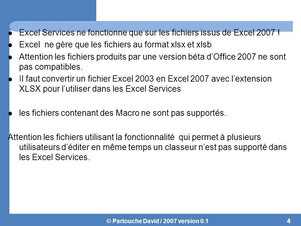 © Partouche David / 2007 version 0.1 Excel Web Access Feature permettant le rendu en HTML du classeur Permet de charger le classeur pour l'afficher de la même façon qu'Excel Aucune installation client n'est demandé 5