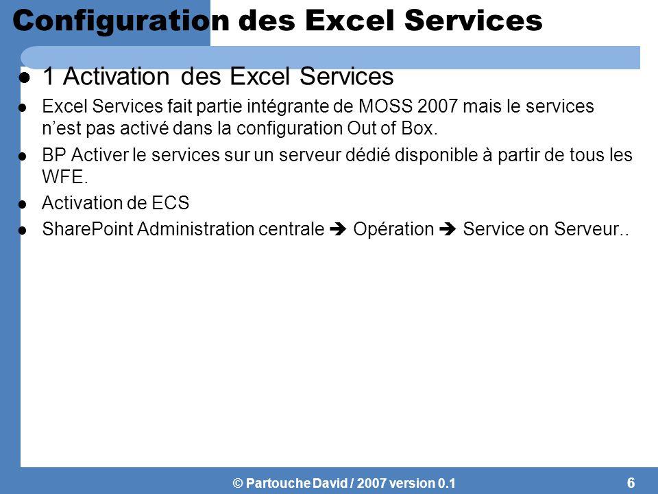© Partouche David / 2007 version 0.1 Configuration des Excel Services 1 Activation des Excel Services Excel Services fait partie intégrante de MOSS 2007 mais le services n'est pas activé dans la configuration Out of Box.