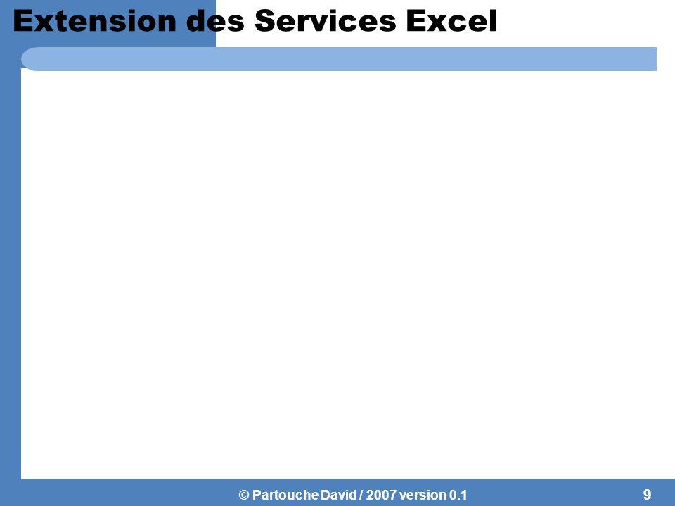 © Partouche David / 2007 version 0.1 Extension des Services Excel 9