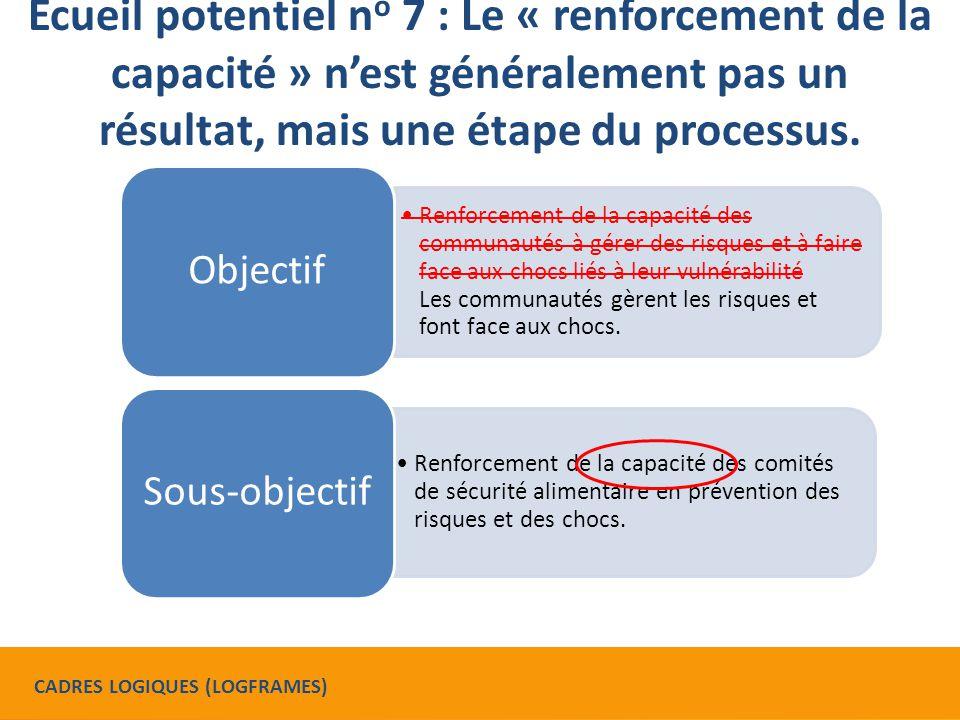 Ecueil potentiel n o 7 : Le « renforcement de la capacité » n'est généralement pas un résultat, mais une étape du processus.