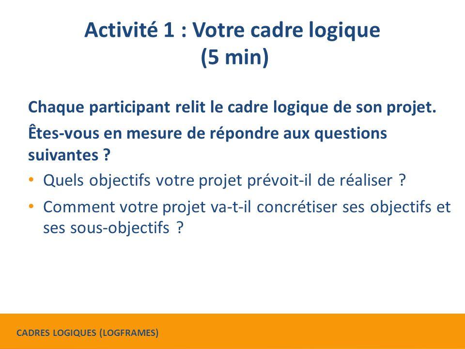 Activité 2 : Décrivez votre projet (10 min) Avec une personne d'un autre organisme : En 5 minutes maximum, décrivez vos projets respectifs à partir de leur cadre logique.