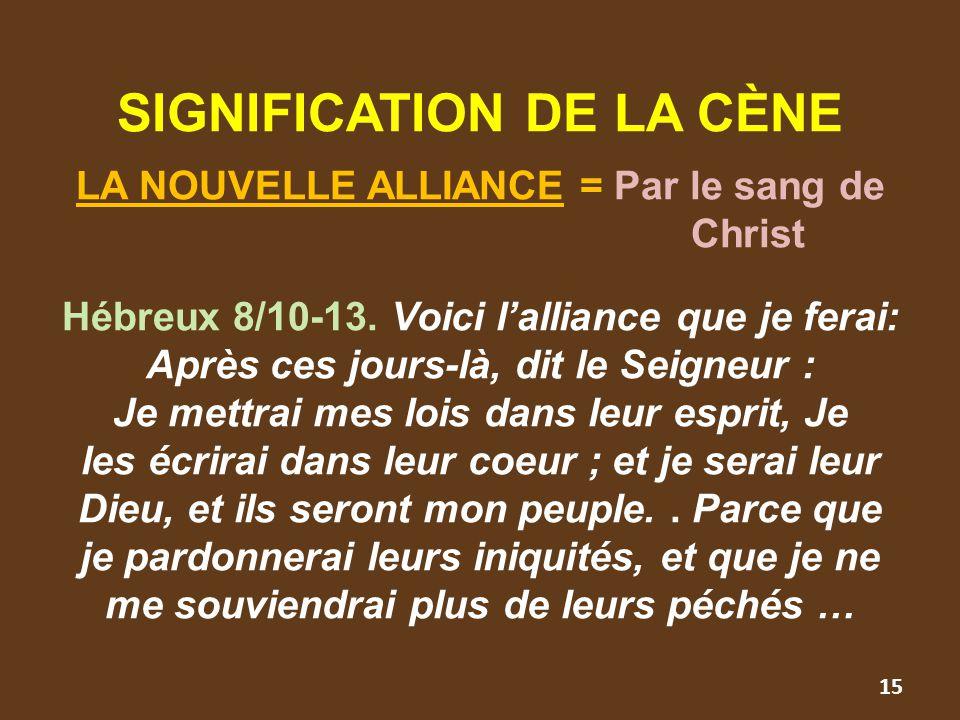 SIGNIFICATION DE LA CÈNE LA NOUVELLE ALLIANCE = Par le sang de Christ Hébreux 8/10-13. Voici l'alliance que je ferai: Après ces jours-là, dit le Seign