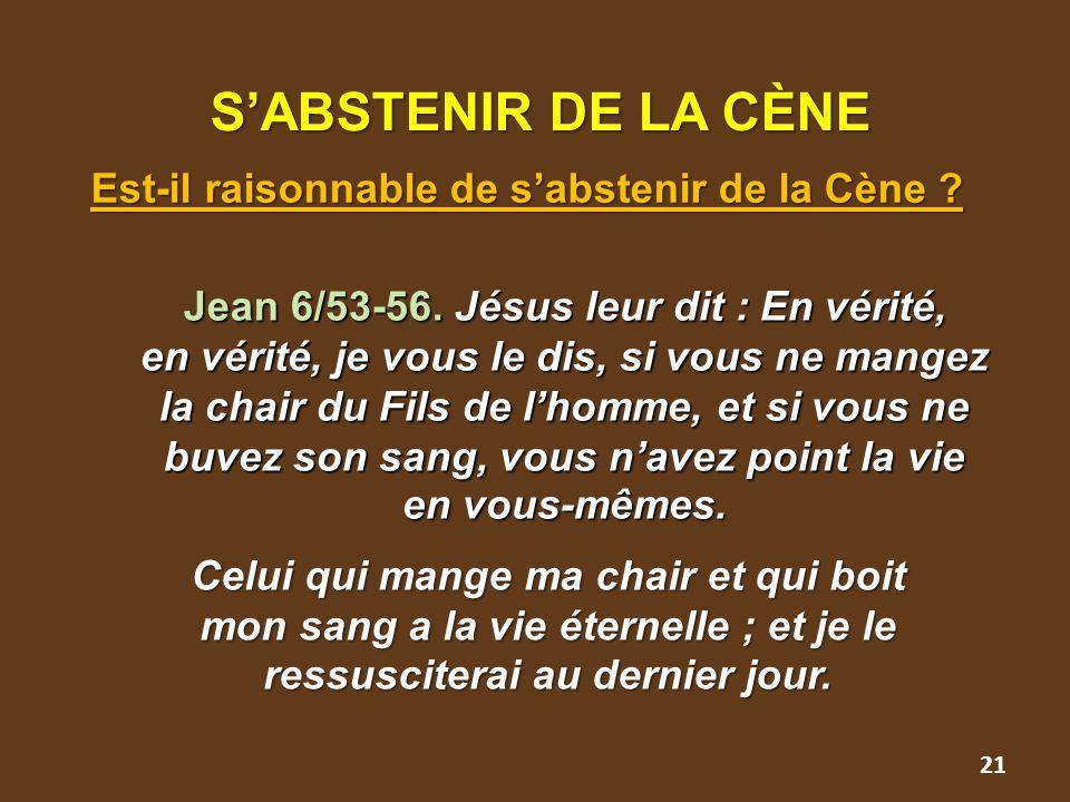 21 S'ABSTENIR DE LA CÈNE S'ABSTENIR DE LA CÈNE Est-il raisonnable de s'abstenir de la Cène ? Jean 6/53-56. Jésus leur dit : En vérité, en vérité, je v