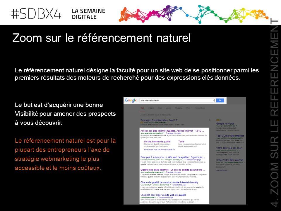 Zoom sur le référencement naturel Le référencement naturel désigne la faculté pour un site web de se positionner parmi les premiers résultats des mote