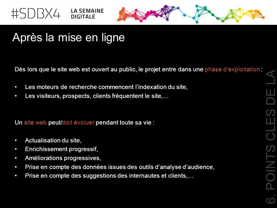 Après la mise en ligne 6. POINTS CLES DE LA REUSSITE Dès lors que le site web est ouvert au public, le projet entre dans une phase d'exploitation : Le